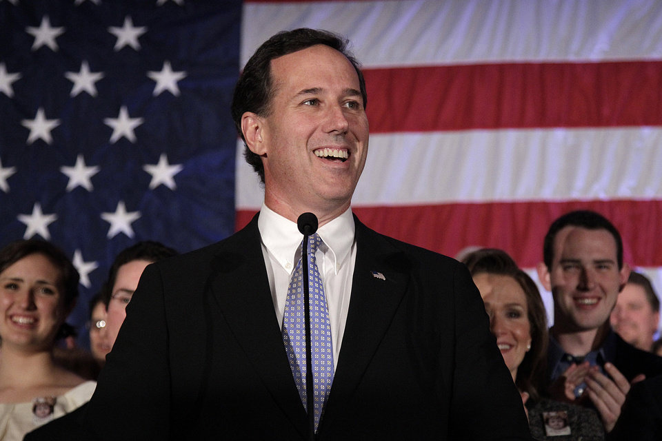 FILE - In this April 3, 2012 file photo, Republican presidential candidate, former Pennsylvania Sen. Rick Santorum speaks in Cranberry, Pa. Rick Santorum boasts that deep conservative values make him a stronger challenger against President Barack Obama this fall than likely GOP nominee Mitt Romney. (AP Photo/Jae C. Hong, File)