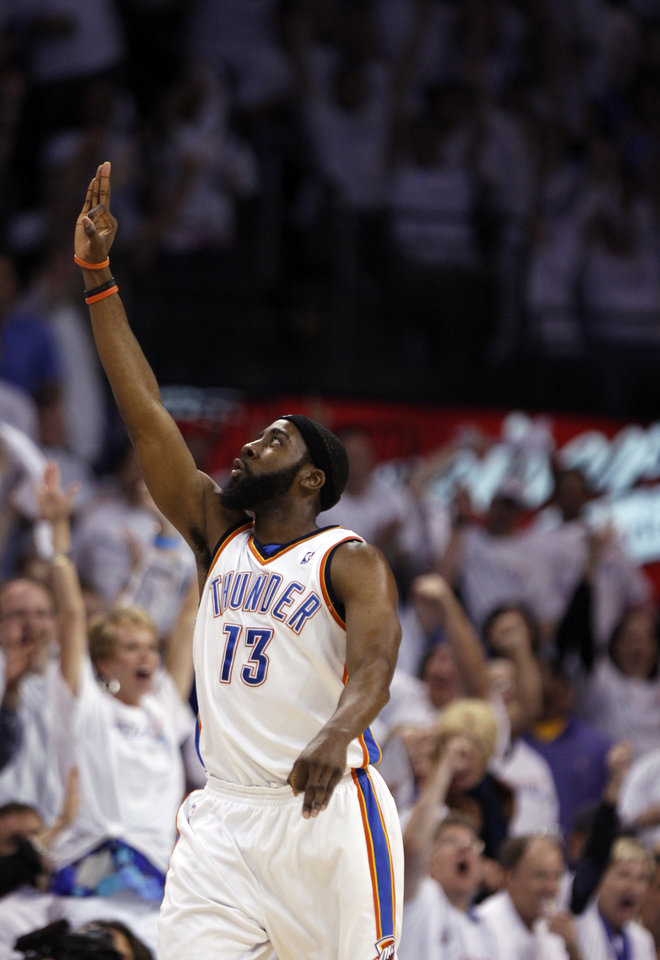 Photo - GAME FOUR / L.A. LAKERS / CELEBRATION: Oklahoma City's James Harden celebrates a 3-pointer during the NBA basketball game between the Los Angeles Lakers and the Oklahoma City Thunder in the first round of the NBA playoffs at the Ford Center in Oklahoma City, Saturday, April 24, 2010. Photo by Sarah Phipps, The Oklahoman ORG XMIT: KOD