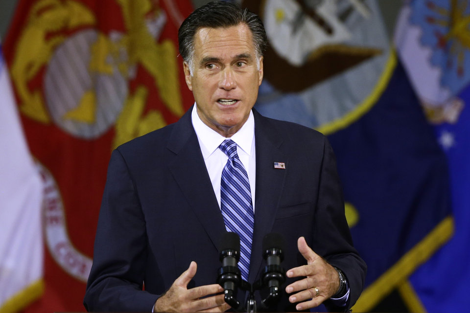 Photo -   Republican presidential candidate, former Massachusetts Gov. Mitt Romney delivers a foreign policy speech at Virginia Military Institute (VMI) in Lexington, Va., Monday, Oct. 8, 2012. (AP Photo/Charles Dharapak)