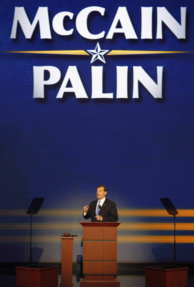 Photo - Rep. Tom Cole, R- Okla., speaks at the Republican National Convention in St. Paul, Minn., Thursday, Sept. 4, 2008.  (AP Photo/Ron Edmonds) ORG XMIT: MNRG120