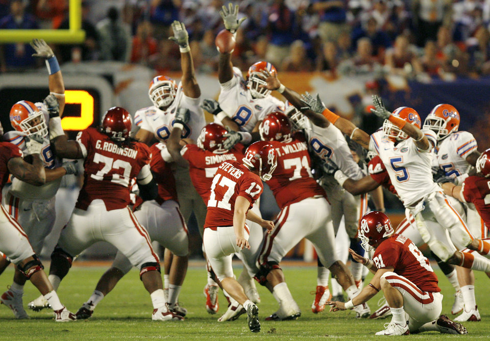 Florida's Carlos Dunlap (8) blocks a field goal attempt by Oklahoma's Jimmy Stevens (17) during the second half of the BCS National Championship college football game between the University of Oklahoma Sooners (OU) and the University of Florida Gators (UF) on Thursday, Jan. 8, 2009, at Dolphin Stadium in Miami Gardens, Fla. Oklahoma lost the game 24-14 to the Gators.