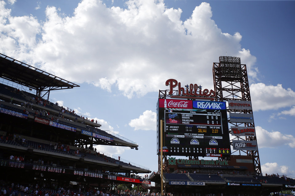 Photo - The scoreboard at Citizens Bank Park is shown after Los Angeles Dodgers starting pitcher Josh Beckett threw a no-hitter baseball game against the Philadelphia Phillies, Sunday, May 25, 2014, in Philadelphia. Los Angeles won 6-0. Beckett pitched the first no-hitter of his career and the first in the majors this season(AP Photo/Matt Slocum)