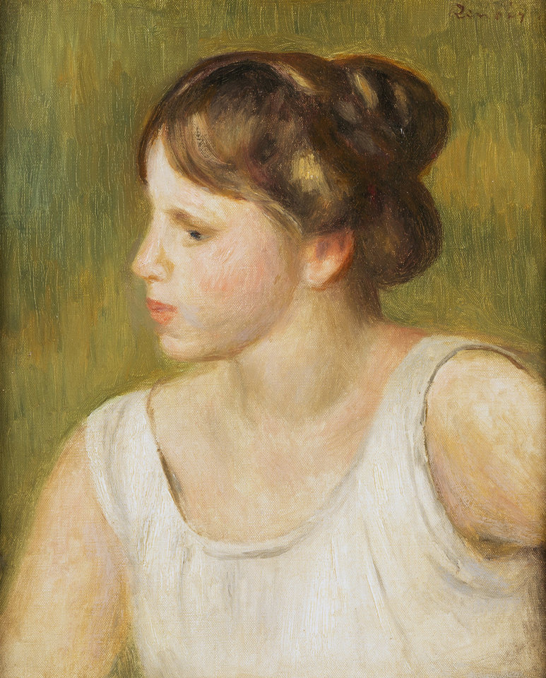 Photo - Pierre-Auguste Renoir (French, 1841–1919). Buste de femme, ca. 1895. Oil on canvas. Oklahoma City Museum of Art. Gift of Mr. and Mrs. R.A. Young, 2002.008. Photo provided by OKCMOA.