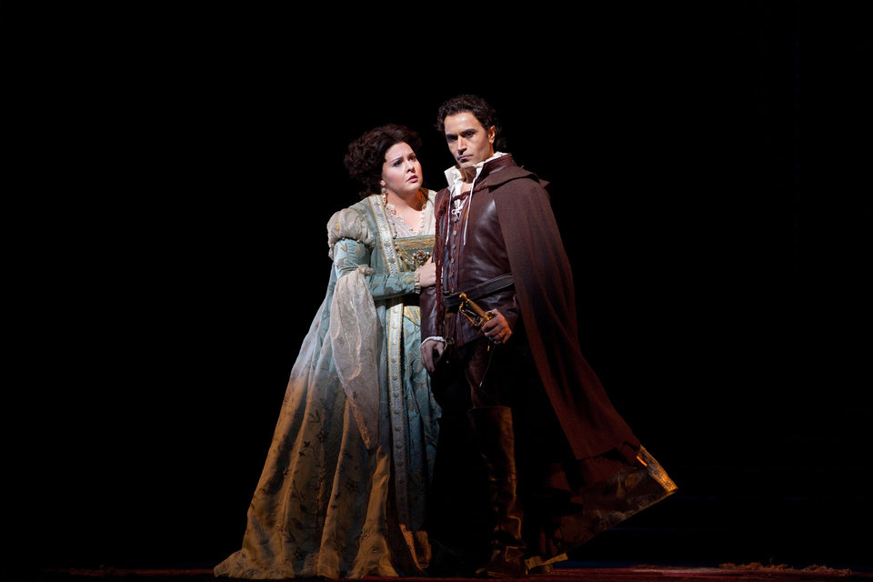 Photo -   In this Jan. 30, 2012, photo provided by the Metropolitan Opera Angela Meade performs as Elvira with Roberto De Biasio as the title character in Verdi's