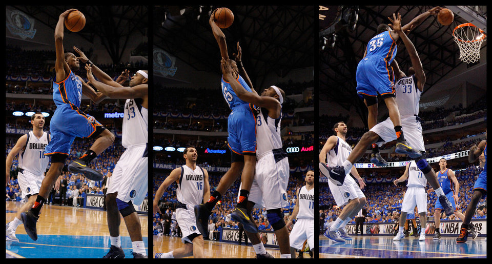 A montage of photos from Kevin Durant's dunk in Thursday's Game 2 victory over Dallas. PHOTOS BY BRYAN TERRY, THE OKLAHOMAN