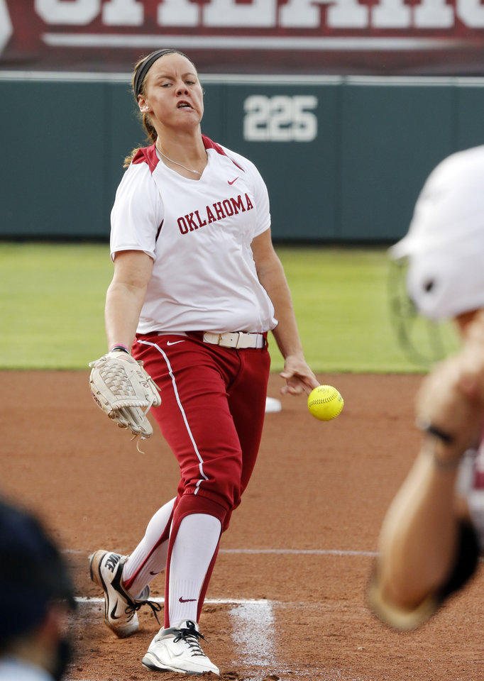 Sooner pitcher Keilani Ricketts pitches during the NCAA Super Regional softball game as the University of Oklahoma (OU) Sooners defeats Texas A&M 10-2 at Marita Hines Field on Friday, May 24, 2013 in Norman, Okla. Photo by Steve Sisney, The Oklahoman