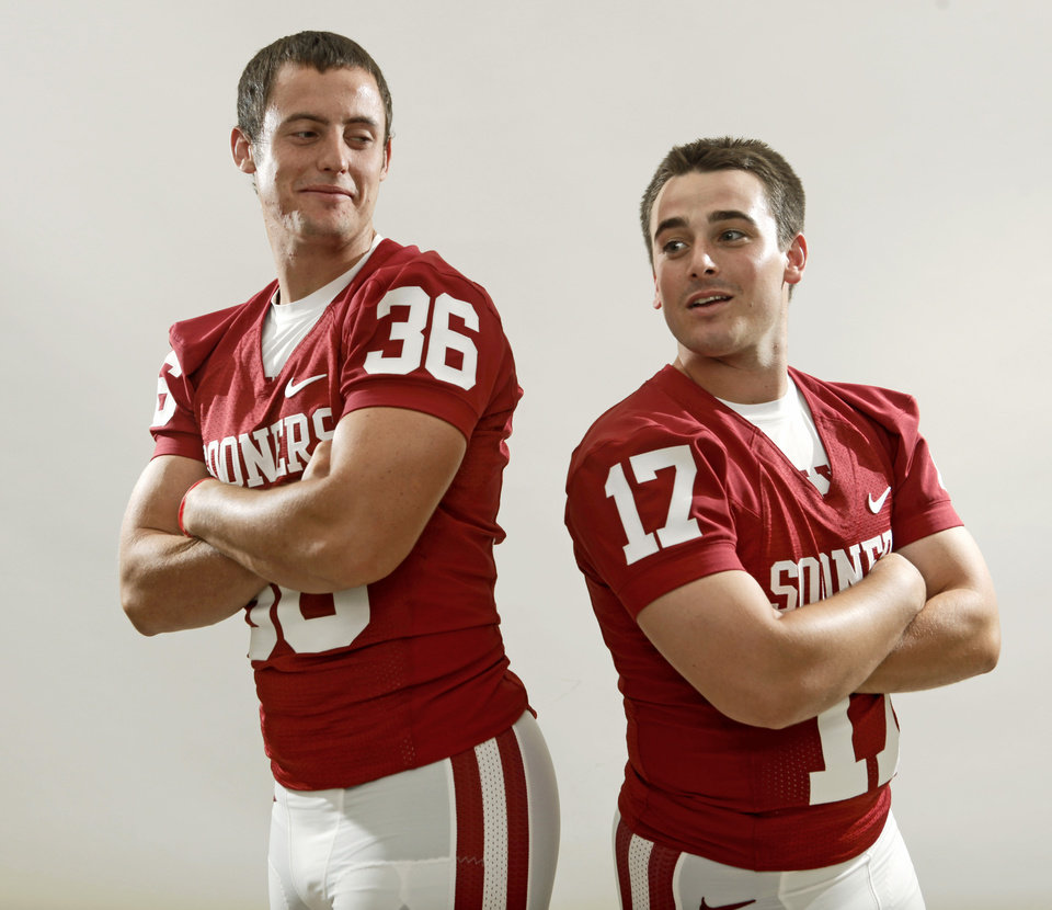 Photo - The University of Oklahoma's Tress Way, left, and Jimmy Stevens pose for a photo during OU's football media day in Norman, Okla., Saturday August 6, 2011. Photo by Bryan Terry, The Oklahoman