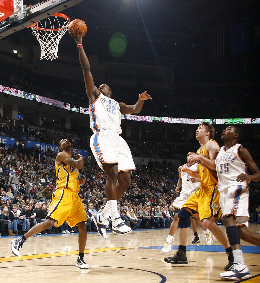 Oklahoma City's Jeff Green (22) shoots a lay up during the basketball game between the Oklahoma City Thunder and the Indiana Pacers, Saturday, Jan. 9, 2010 at the Ford Center in Oklahoma CIty. Photo by Sarah Phipps, The Oklahoman