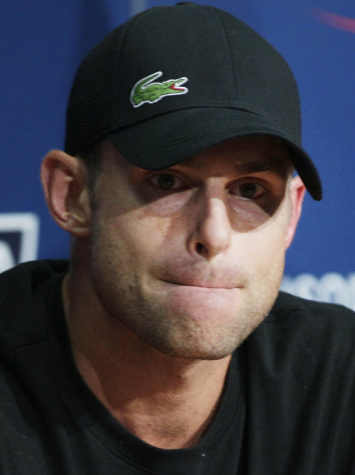 Photo -   Andy Roddick speaks during a news conference during the second round of play at the 2012 US Open tennis tournament, Thursday, Aug. 30, 2012, in New York. Roddick says the U.S. Open will be the last tournament of his career. The 2003 U.S. Open champion and former No. 1 announced his plans to retire at a news conference Thursday, his 30th birthday.(AP Photo/Frank Franklin II)