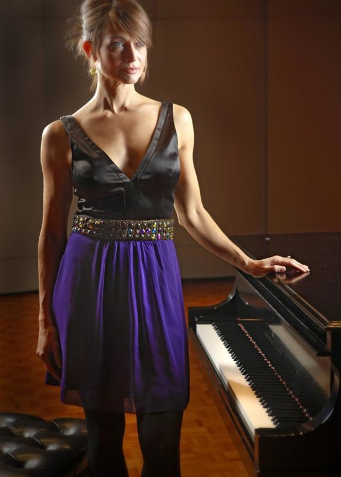 Maria Bianca Nero cocktail dress with embellished waist from C/K & Co.  Photo by Chris Landsberger, The Oklahoman.