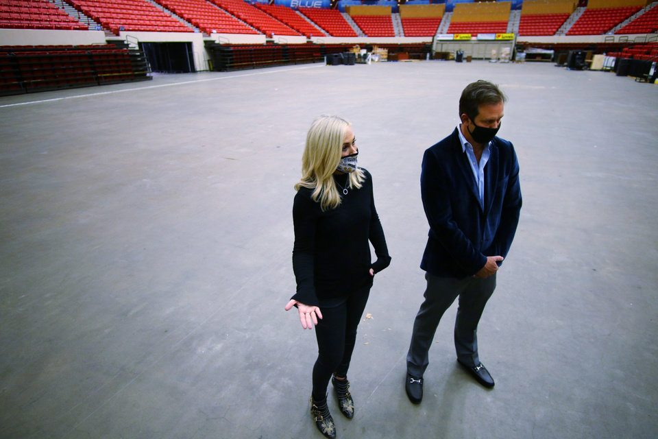 Photo - Prairie Surf Media, owned by Rachel Cannon and Matt Payne discussing the conversion of the Cox Center into a space to be used for sound stages and production, Friday, September 11, 2020. [Doug Hoke/The Oklahoman]