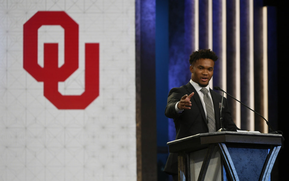 Photo - Oklahoma quarterback Kyler Murray speaks after winning the Heisman Trophy on Saturday, Dec. 8, 2018, in New York. (Todd J. Van Emst/Heisman Trophy Trust via AP, Pool)