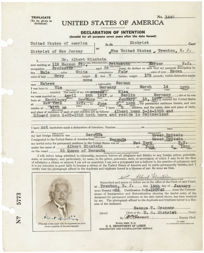 Photo - In 1935 Albert Einstein filled out a