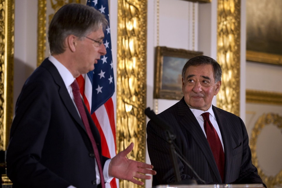 Britain\'s Secretary of State for Defense Philip Hammond, left, speak to the media with U.S. Defense Secretary Leon Panetta during a news conference at Lancaster House in London on Saturday, Jan. 19, 2013. Britain\'s defense minister says it appears the hostage situation in Algeria has come to an end and resulted in further loss of life. Philip Hammond calls the loss of life appalling and unacceptable. He says