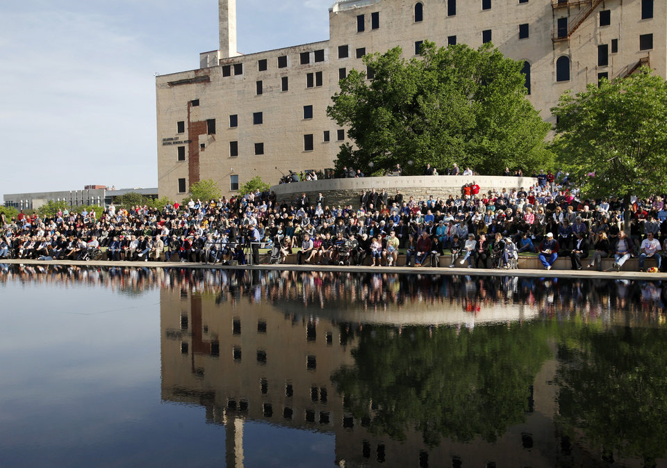 An estimated crowd of 2,000  attended the  Remembrance Ceremony to mark  the 17th anniversary of the 1995 bombing of the Alfred P. Murrah Federal Building in downtown Oklahoma City in which 168 people were killed.  Photo taken April 19, 2012.        Photo by Jim Beckel, The Oklahoman
