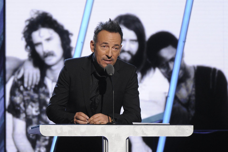 Photo - Bruce Springsteen speaks at the 2014 Rock and Roll Hall of Fame Induction Ceremony on Thursday, April, 10, 2014 in New York. (Photo by Charles Sykes/Invision/AP)