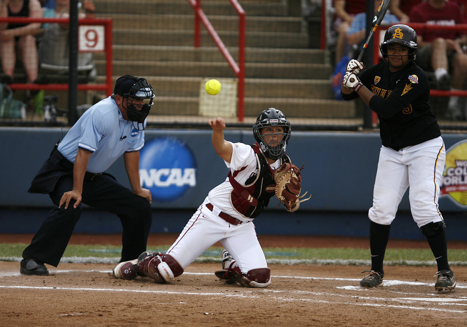 OU catcher, Jessica Shults (18) throws a ball to first base during a Women's College World Series game between Oklahoma University and Arizona State University at ASA Hall of Fame Stadium in Oklahoma City, Sunday, June 3, 2012.  Photo by Garett Fisbeck, The Oklahoman