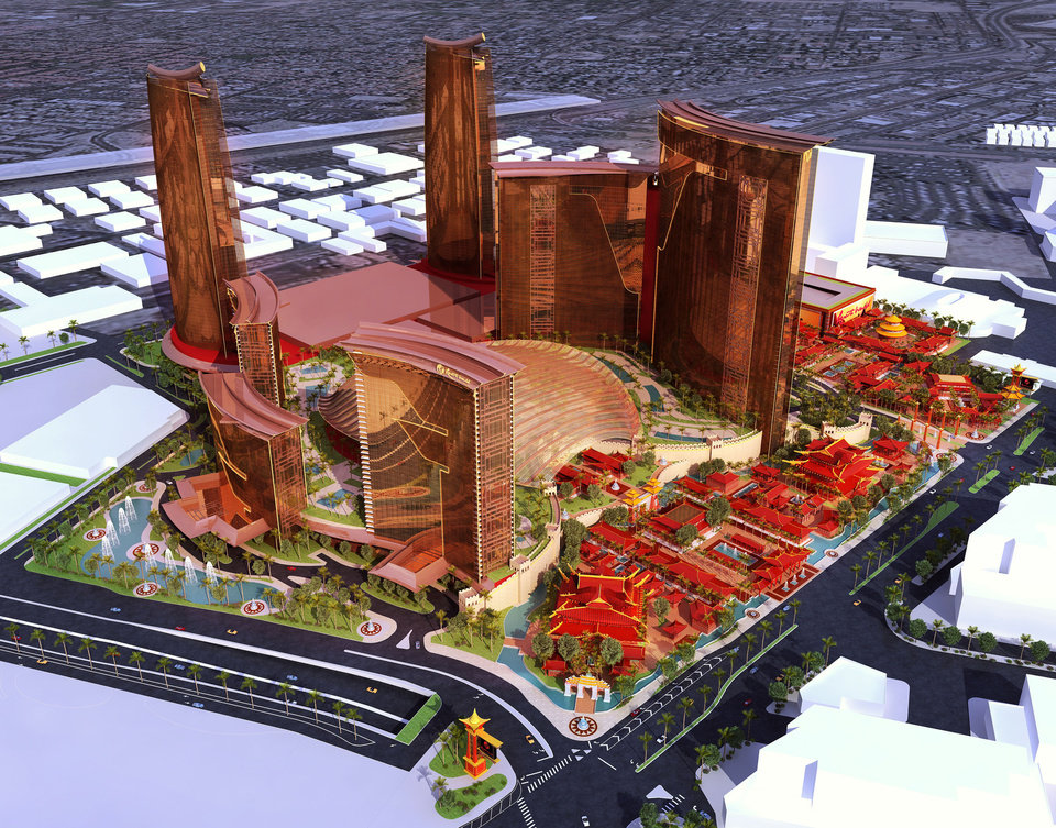 Photo - FILE - This undated file artists rendering provided by Steelman Partners shows plans for the development of a new hotel and casino complex on the site of the stalled Echelon project in Las Vegas. In a Wednesday, May 7, 2014 licensing hearing before gambling regulators, Malaysian conglomerate Genting Group unveiled new details about its planned Resorts World development at the less-trafficked north end of the Strip. (AP Photo/Steelman Partners, File)