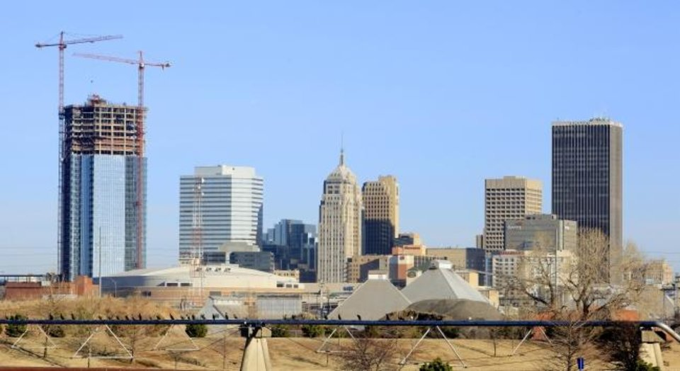 Photo -  Devon Energy Center transformed the downtown skyline in 2011 as it continued to rise up to 50 stories. [THE OKLAHOMAN ARCHIVES]