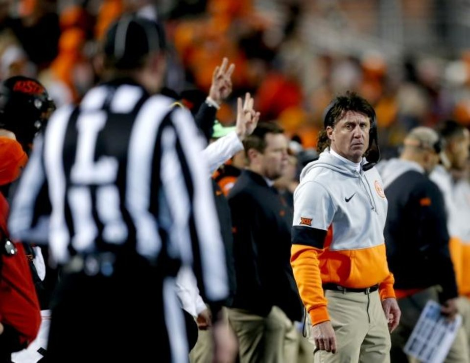 Photo -  Where might Oklahoma State head coach Mike Gundy and the Cowboys go for bowl season this year? [Sarah Phipps/The Oklahoman]