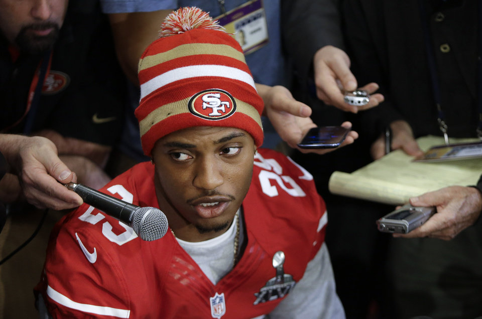 Photo - San Francisco 49ers cornerback Chris Culliver answers questions Thursday, Jan. 31, 2013, in New Orleans, regarding anti-gay remarks he made during Super Bowl media day Tuesday. Culliver apologized for the comments he made to a comedian, saying