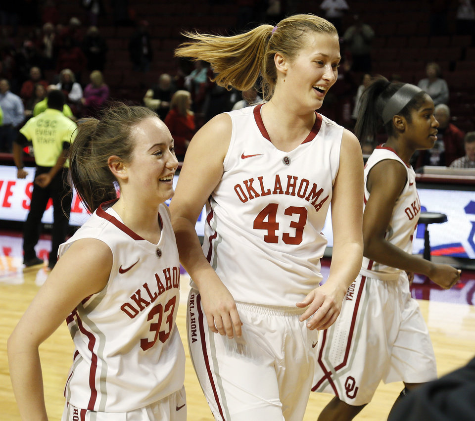 Photo - Oklahoma's Eden Williams (33) and Tara Dunn (43) leave the court along with Oklahoma's Aaryn Ellenberg (3) after a women's college basketball game between the University of Oklahoma (OU) and Cal State Northridge at the Lloyd Noble Center in Norman, Okla., Saturday, Dec. 29, 2012. OU won, 79-57.  Photo by Nate Billings, The Oklahoman