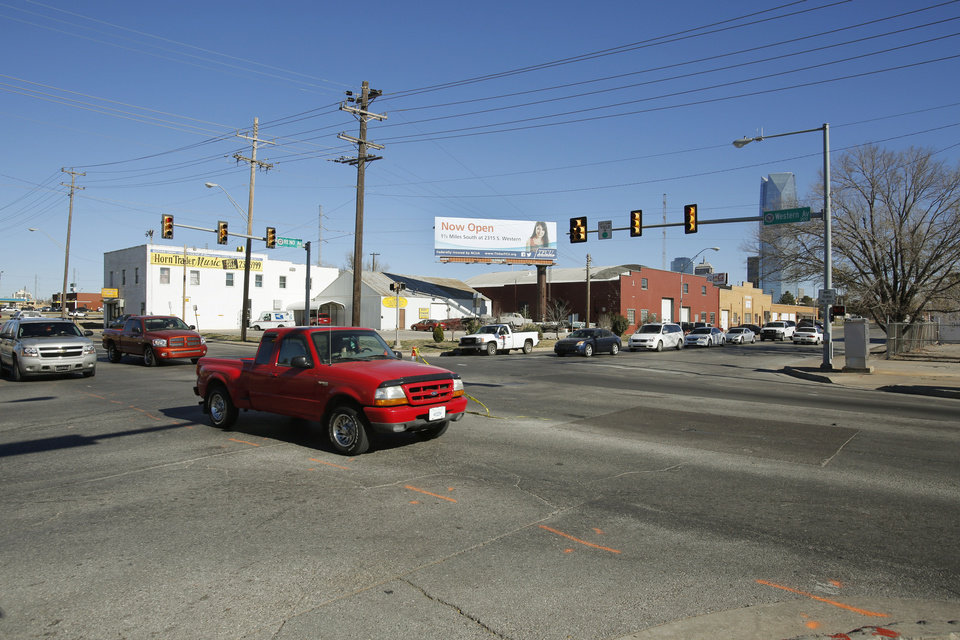 Photo - The intersection of Reno and Western avenues west of downtown will be transformed beginning in 2013 as plans are finalized and construction begins on the Oklahoma City Boulevard. Photos by Steve Gooch, The Oklahoman