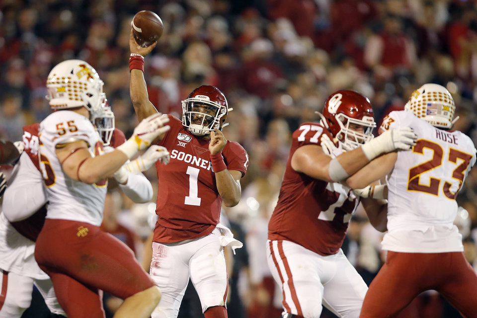 Photo - Oklahoma's Jalen Hurts (1) throws a pass during an NCAA football game between the University of Oklahoma Sooners (OU) and the Iowa State University Cyclones at Gaylord Family-Oklahoma Memorial Stadium in Norman, Okla., Saturday, Nov. 9, 2019. [Bryan Terry/The Oklahoman]