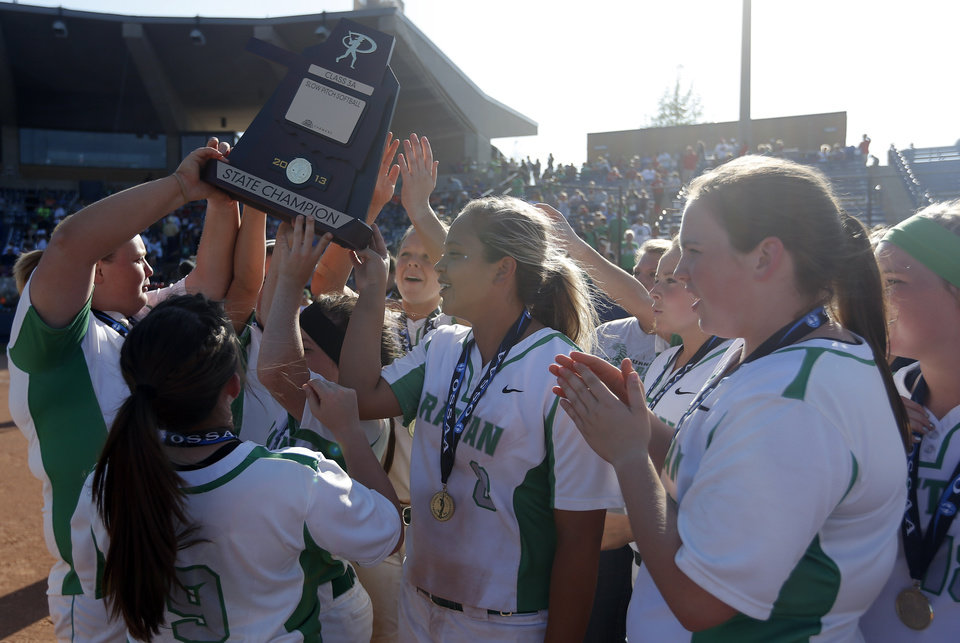 Rattan celebrates the 3A slow-pitch softball championship between Apache and Rattan championship at the ASA Hall of Fame Stadium  in Oklahoma City, Tuesday, April 30, 2013. Photo by Sarah Phipps, The Oklahoman