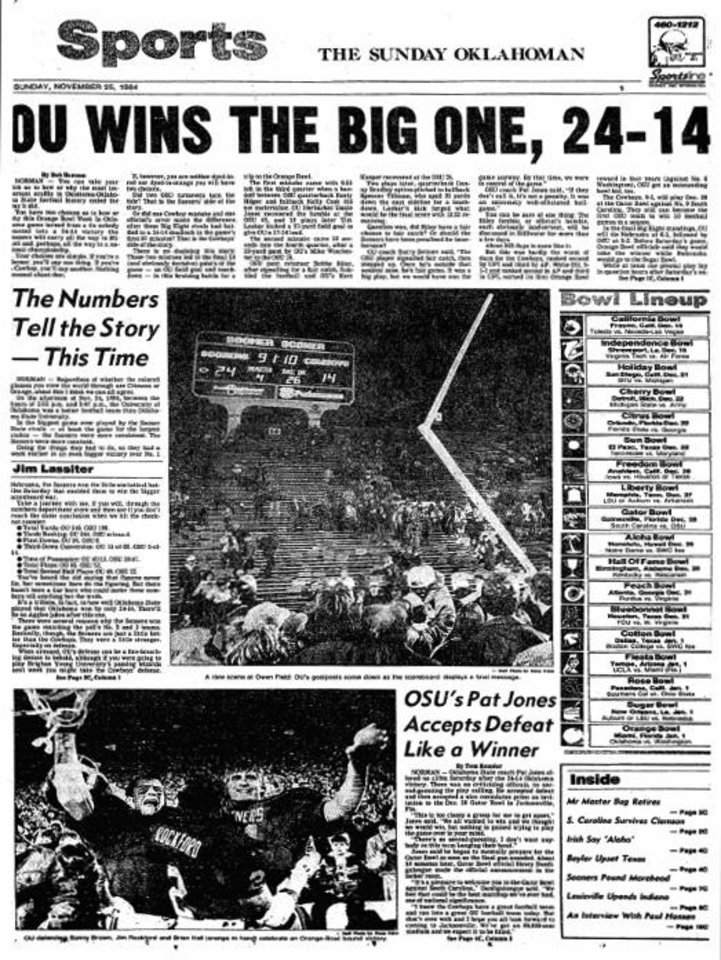 Photo - Daily Oklahoman cover after 1984 Bedlam game