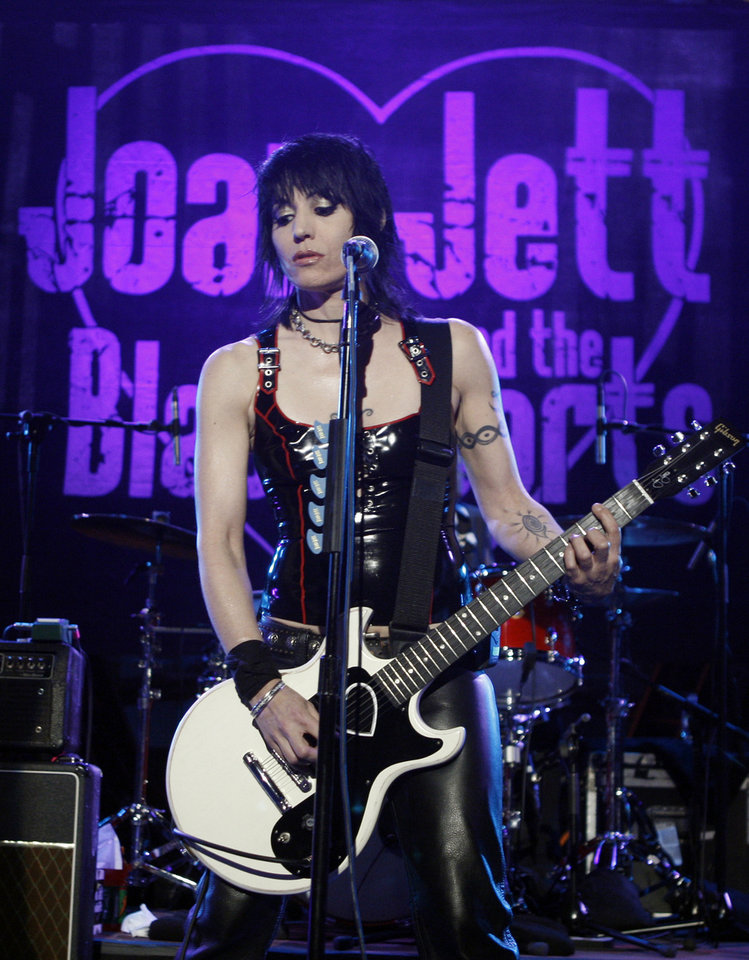 FILE - In this Aug. 12, 2008 file photo, musician Joan Jett performs with her band, the Blackhearts, as part of Nissan Live Sets on Yahoo! Music in Los Angeles. Joan Jett and the Blackhearts are nominated for induction into the Rock and Roll Hall of Fame in 2013. (AP Photo/Matt Sayles, File)