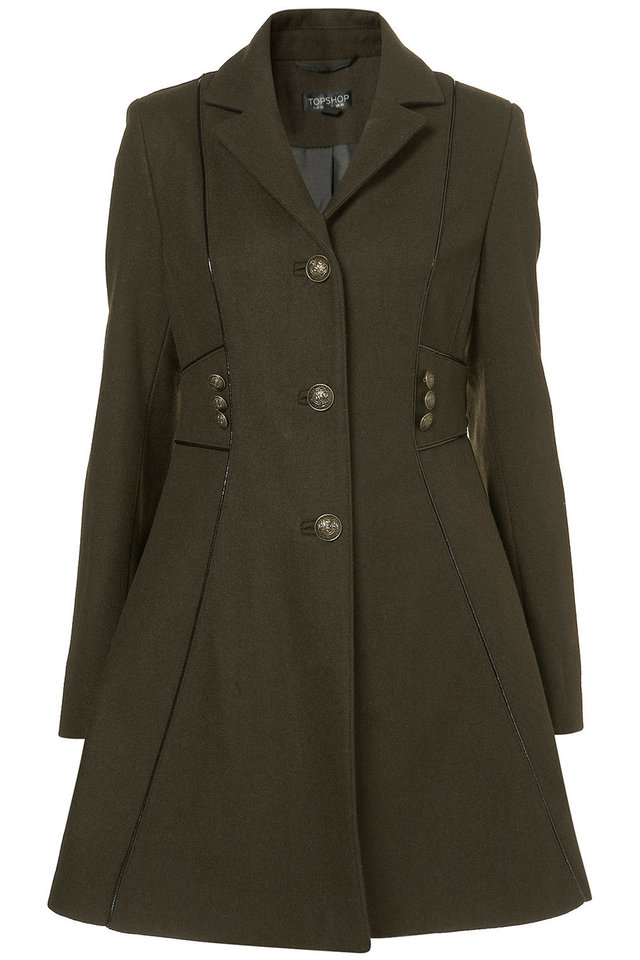 "Get the ""Bond Girl"" look of actress Berenice Marlohe with a trench such as this military piped girly coat ($190 at Top Shop). (Top Shop/Los Angeles Times/MCT)"