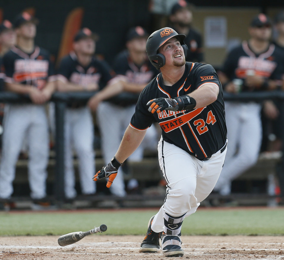 Photo - OSU's Colin Simpson (24) flies out in the second inning during a college baseball game between Baylor and Oklahoma State in the last regular-season series at Allie P. Reynolds Stadium in Stillwater, Okla., Friday, May 17, 2019. [Nate Billings/The Oklahoman]