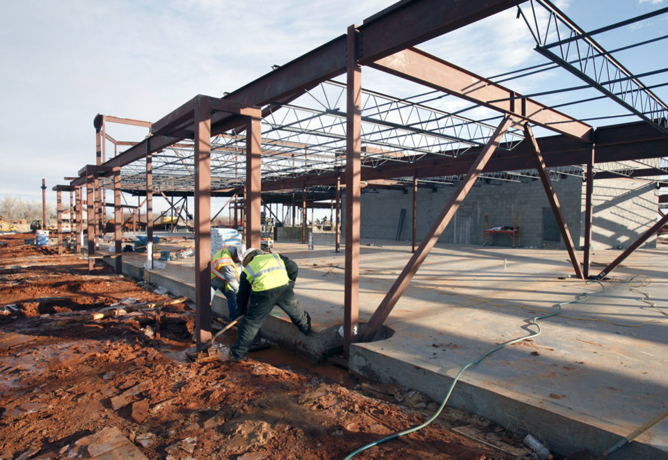 Work is proceeding on Deer Creek's new Spring Creek Elementary School north of NW 150 and Rockwell. Photo by Paul Hellstern, The Oklahoman <strong>PAUL HELLSTERN</strong>