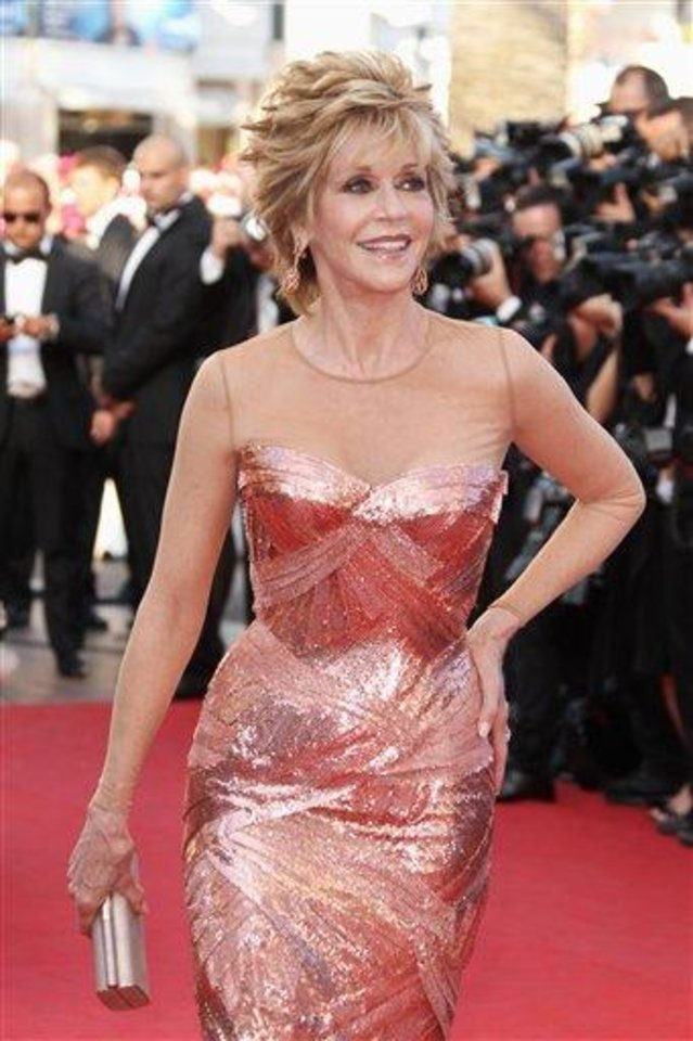 Photo - Actress Jane Fonda arrives for the opening ceremony and screening of Moonrise Kingdom at the 65th international film festival, in Cannes, southern France, Wednesday, May 16, 2012. (AP Photo/Joel Ryan)