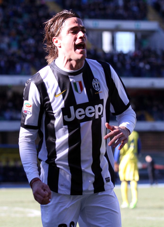 Juventus' forward Alessandro Matri reacts after scoring during a Serie A soccer match against Chievo Verona at the Bentegodi stadium in Verona, Italy, Sunday, Feb. 3, 2013. (AP Photo/Felice Calabro')