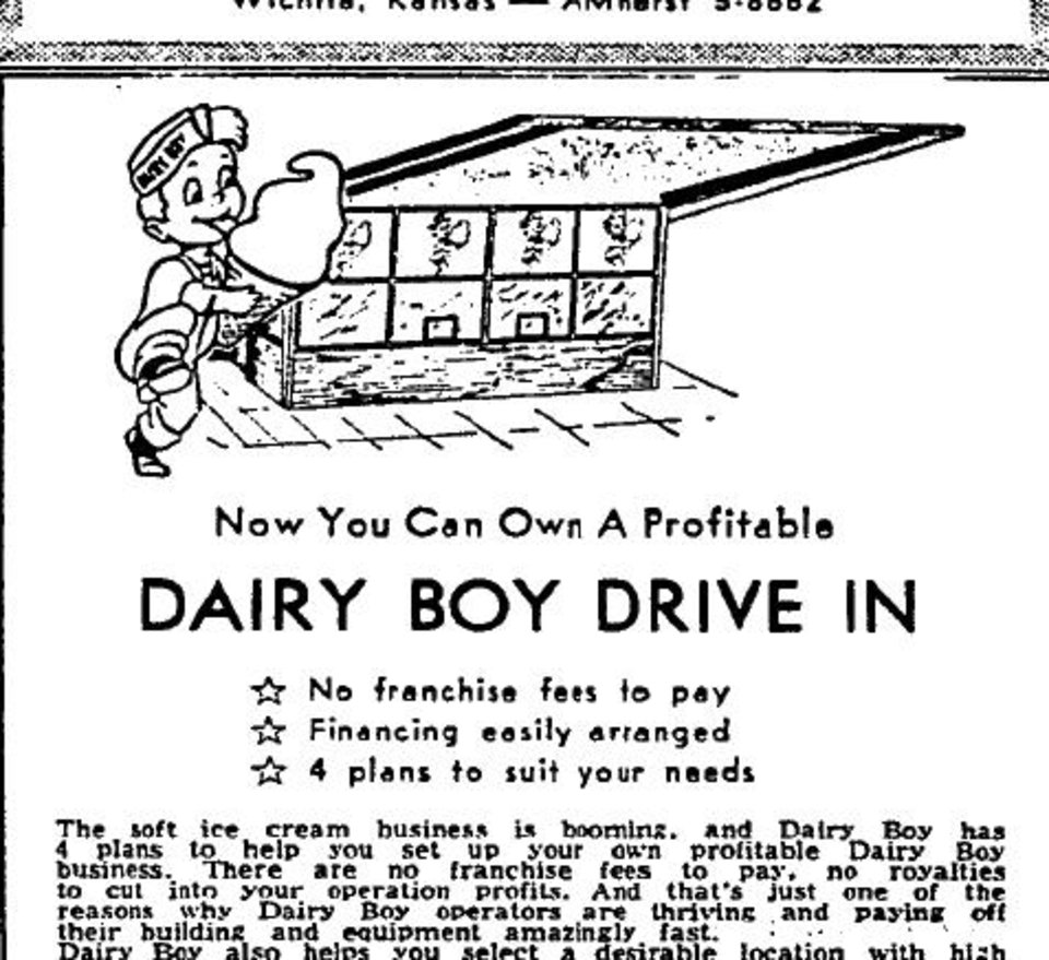 Photo -  An 1958 newspaper advertisement soliciting Dairy Boy franchisees from The Daily Oklahoman.