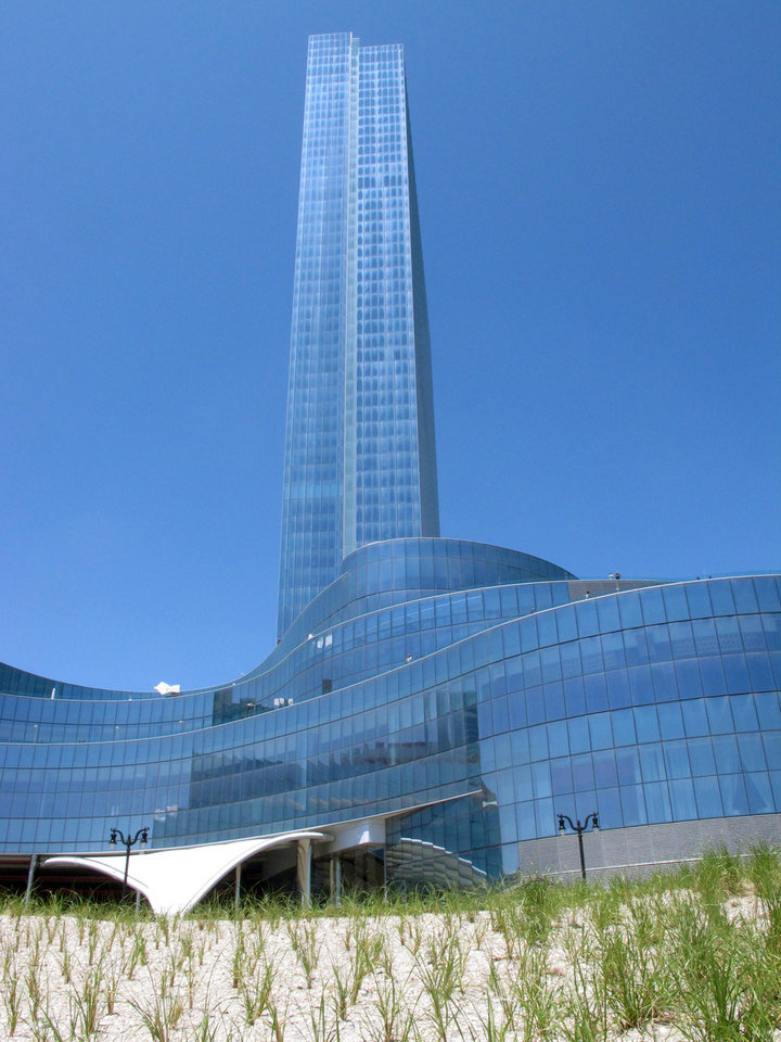 Photo - This May 30, 2014 photo shows the exterior of Revel Casino Hotel in Atlantic City N.J. The $2.4 billion casino filed for bankruptcy on June 19, 2014, the second time in as many years it sought bankruptcy court protection, and warned that it will shut down this summer if a buyer cannot be found. (AP Photo/Wayne Parry)