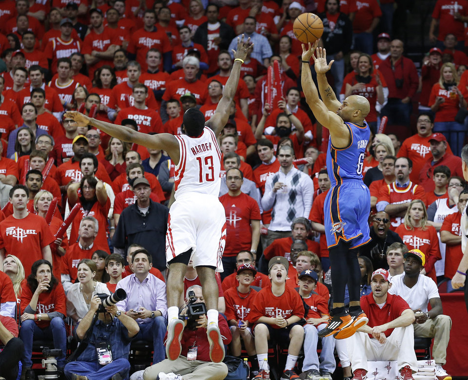 Photo - Oklahoma City's Derek Fisher (6) shoots a three-point basket over Houston's James Harden (13) during Game 6 in the first round of the NBA playoffs between the Oklahoma City Thunder and the Houston Rockets at the Toyota Center in Houston, Texas, Friday, May 3, 2013. Oklahoma City won 103-94. Photo by Bryan Terry, The Oklahoman