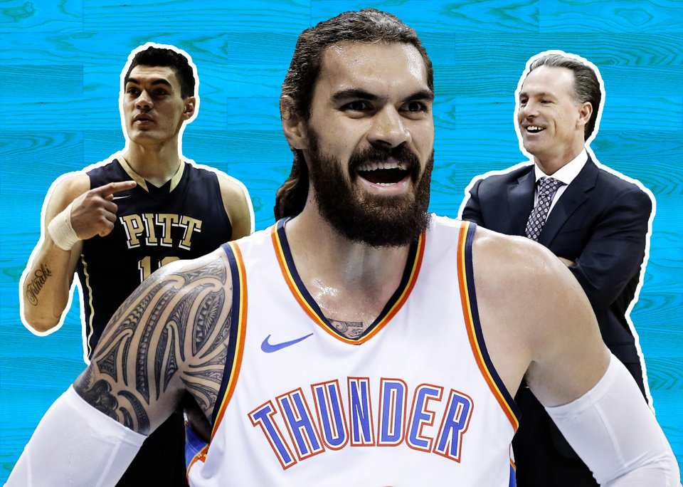 Photo -  Thunder center Steven Adams remains a candidate for the NBA All-Star Game. While many had a hand in bringing him from New Zealand unknown to NBA star, former Pittsburgh and current TCU coach Jamie Dixon remains an important link in the chain. [OKLAHOMAN PHOTO ILLUSTRATION]