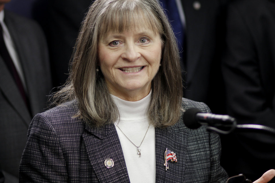 Photo - State Rep. Sally Kern, R-Oklahoma City, during a press conference supporting the personhood bill in the Oklahoma House Monday, April 21, 2012. Photo by Doug Hoke, The Oklahoman