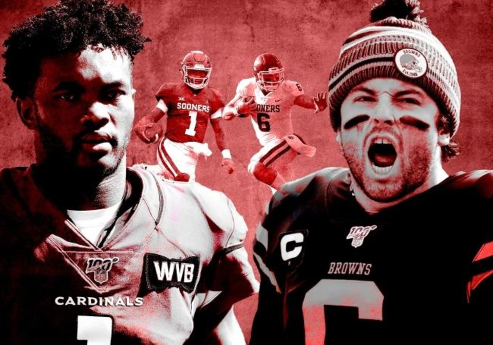 Photo -  Former OU teammates Kyler Murray and Baker Mayfield will face off for the first time in the NFL on Sunday when the Cardinals host the Browns. [OKLAHOMAN PHOTO ILLUSTRATION]