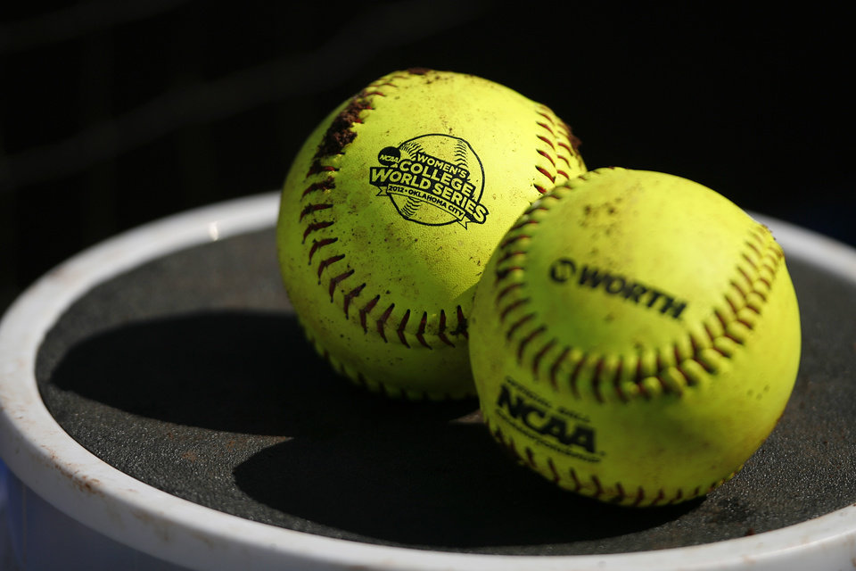 Softballs during a Women's College World Series game between Alabama and California at ASA Hall of Fame Stadium in Oklahoma City, Sunday, June 3, 2012.  Photo by Garett Fisbeck, The Oklahoman
