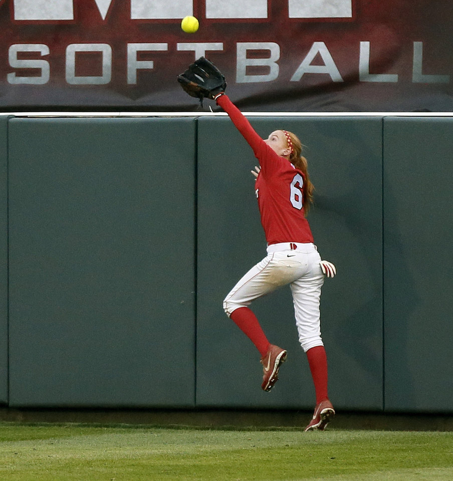 Marist's Maureen Duddy (6) catches a fly ball during an NCAA softball game between OU and Marist in the Oklahoma Regional in Norman, Okla., Friday, May 17, 2013. Oklahoma won 17-0 in 5 innings. Photo by Nate Billings, The Oklahoman