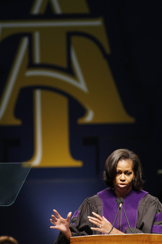 Photo -   First Lady Michelle Obama delivers the commencement address at North Carolina Agricultural and Technical State University in Greensboro, N.C., Saturday, May 12, 2012. (AP Photo/Jim R. Bounds)