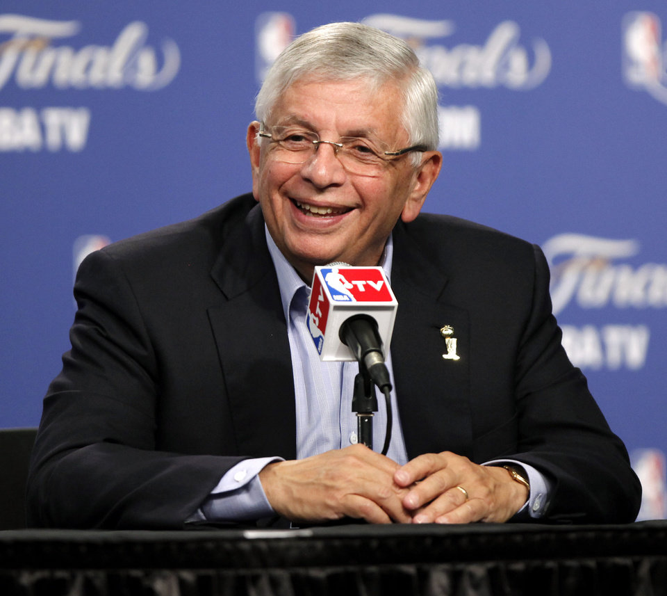 NBA Commissioner David Stern talks during a press conference before Game 1 of the NBA Finals between the Oklahoma City Thunder and the Miami Heat at Chesapeake Energy Arena in Oklahoma City, Tuesday, June 12, 2012. Photo by Bryan Terry, The Oklahoman