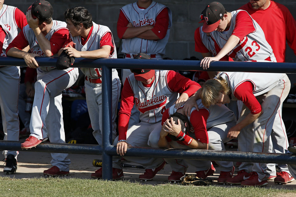 The Plainview team reacts to losing to Berryhill in the Class 4A state baseball tournament championship game in Shawnee, Okla., Saturday, May 11, 2013. Photo by Bryan Terry, The Oklahoman