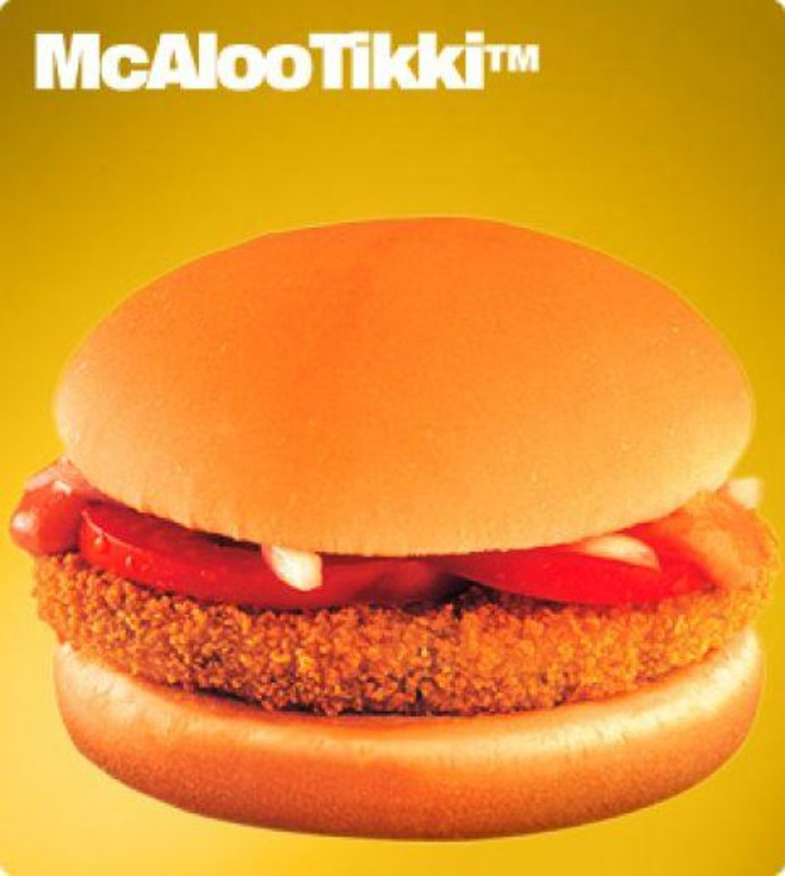 Photo -   This undated image provided by McDonald's Corp. shows an item available in it's soon to open vegetarian-only restaurants in India. The company already offers menu items that cater to local tastes, such as the Maharaja Mac, which is a Big Mac except with chicken patties instead of beef. (AP Photo/McDonald's Corp.)
