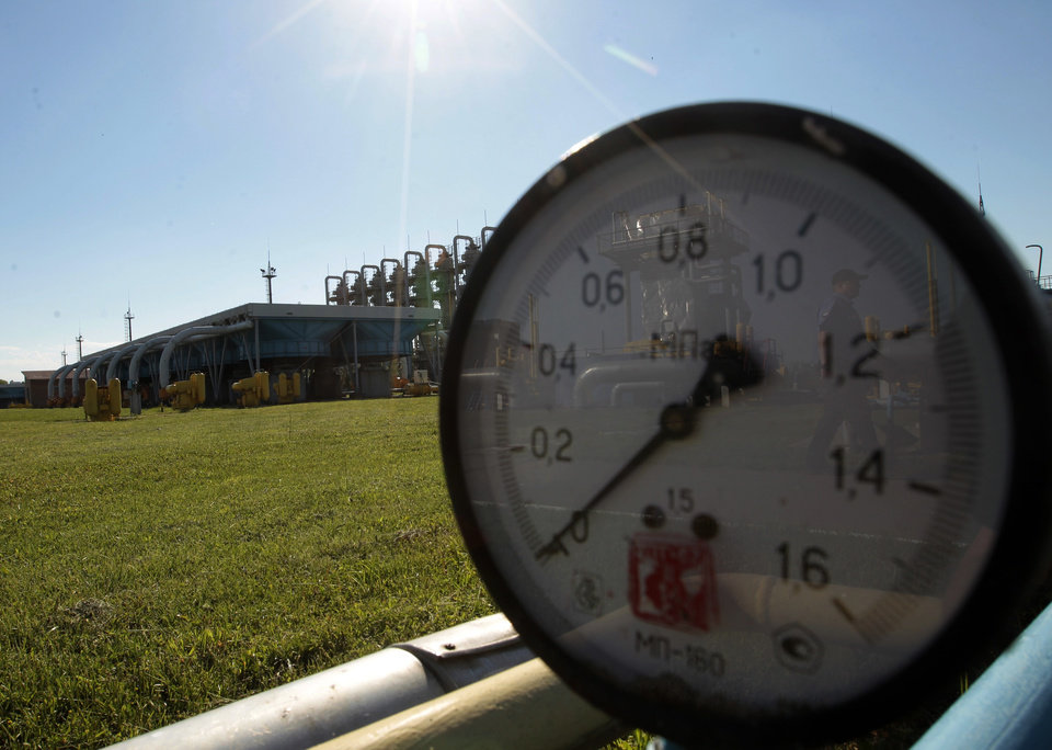 Photo - FILE - This Wednesday May 21, 2014 file photo shows a gas pressure gauge in Bil 'che-Volicko-Ugerske underground gas storage facilities in Strij, outside Lviv, Ukraine. Russia on Monday, June 16, 2014, cut gas supplies to Ukraine as a payment deadline passed and negotiators failed to reach a deal on gas prices and unpaid bills amid continued fighting in eastern Ukraine. The decision does not immediately affect the gas flow to Europe, but could disrupt the long-term energy supply to the region if the issue is not resolved, analysts said. (AP Photo/Sergei Chuzavkov, file)