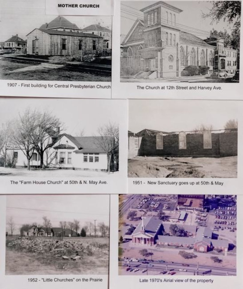 Photo -  Historic photo copies of Central Presbyterian Church are displayed at the church, 5101 N May.